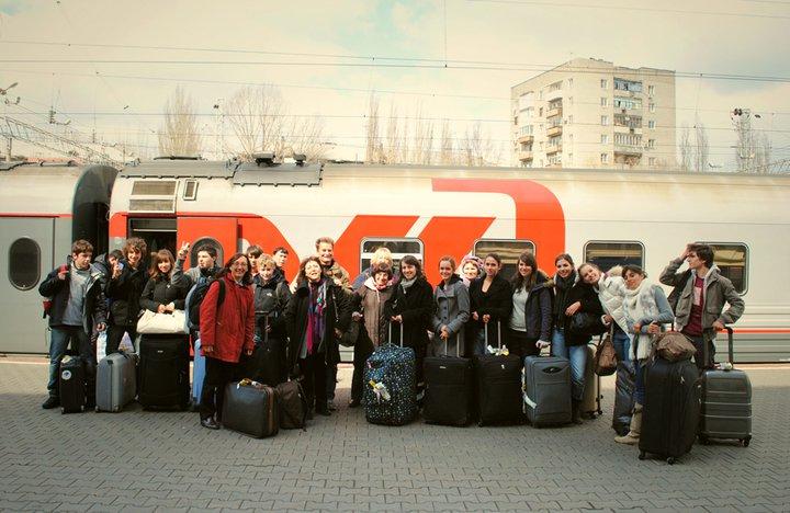 L-arrivee des correspondants francais ECHANGE FRANCO RUSSE 2011